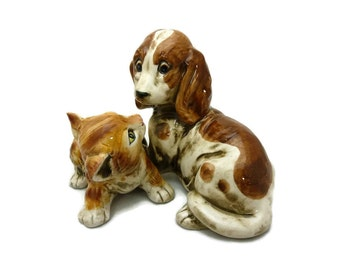 Vintage Playful Pup and Kitten Figurine