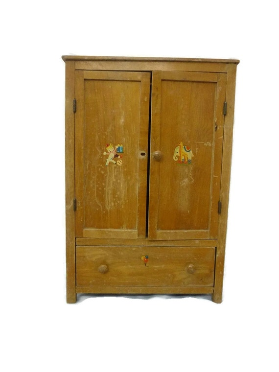 Doll wardrobe armoire wooden distressed kitchen cabinet