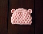 crochet baby bear beanie in light pink
