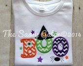 BOO with Witch Hat Applique T-Shirt-Happy Halloween-Trick or Treat-pumpkin patch-Photo Prop