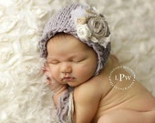 RESERVED Size: 6-12 months for Muffinpuffin   Photography Prop Vintage Bonnet knitted with Italian yarn in silver/lavender