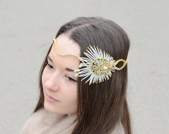 Great Gatsby White Gold Bridal  Feather Tiara, 20's Style  Headband , Rhinestone Crystal Beaded Hairpiece, Boho Wedding  Hair Accessories