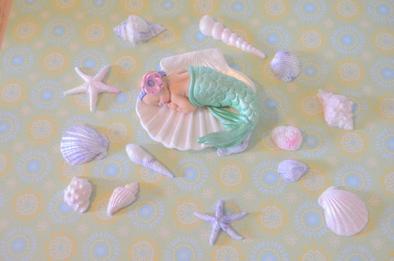 Little Baby Mermaid Cake Topper By Dreamdayshoppe On Etsy