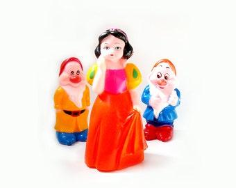Vintage Snow White and the Seven Dwarfs Squeaky Toy , Snow White and Two Cute Dwarfs