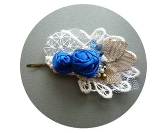 SALE Blue Bridal Headpiece, Blue Wedding Bridal Hair Pin, Lacey Bridal Pin, Burlap and Lace Wedding, Blue Satin Roses Floral Hair Pin
