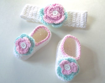 Baby girl white headband and booties set with pink and green trim crochet baby girl layette set