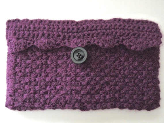 Clutch Bag Crochet : ... plum crochet clutch purse, crochet plum cosmetic makeup bag lined
