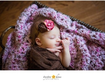 Vintage Headband. Baby Headband.  Pink and Brown Floral Headband. Photography Prop. Newborn Photo Prop
