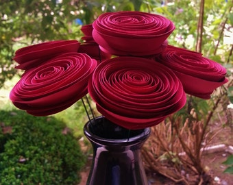 Paper Flower Bouquet - Wine Red Paper Flowers - Perfect for weddings, Valentine's Day, anniversaries, house warming