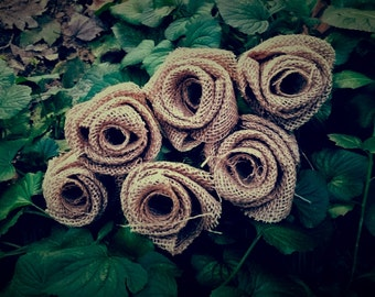 Burlap Flower Bouquet - 6 Large Tan Burlap Flowers - Perfect for Weddings, Centerpieces, Anniversaries