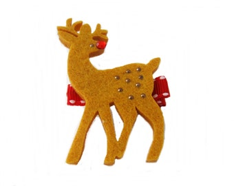 Reindeer Hair Clip, Christmas Hair Clip, Girl Barrette, Holiday Hair Clip, Rudolph the Red Nose Reindeer, Hair Bow, Girls Hair Accessories