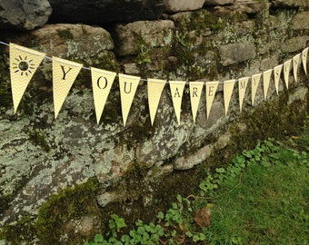 You are My Sunshine Banner Bunting (Sign, Flags, Pennants) in yellow chevron. Perfect for Party or bedroom, playroom Decoration