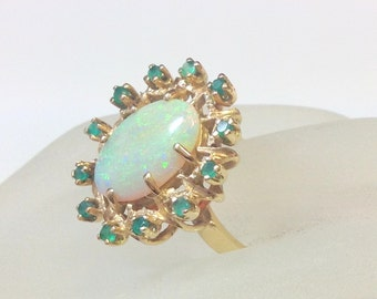 Large OPAL GOLD Cocktail Ring with EMERALDS- Hallmarked- 14k