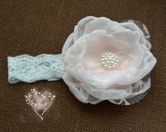 Baby Blush Headband (pink, pastel, pearl, chiffon, lace)