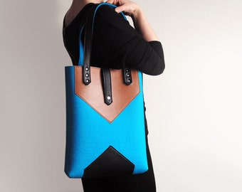Turquoise Blue Sienna Brown Black Wool Felt Genuine Leather Tote Bag