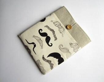 Mustache iPad sleeve, linen iPad sleeve, iPad case, iPad cover, handmade iPad sleeve, iPad smart cover