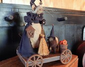 Mousel witch and her sheep on pull toy style wagon..... A Halloween Vignette