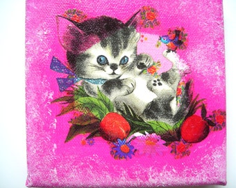 Picture (Board) collages (stickings) and acrylic attractive kitten 12 x 12 cms