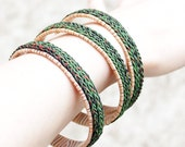Green Knitted Bracelet, Knitted Jewellery, Rustic Accessory