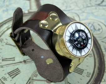 Steampunk wrist compass, steampunk, brass mounted compass, black leather cuff