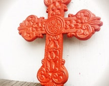 BOLD deep coral ornate medallion cross wall hanging // cast iron // rustic shabby cottage chic // religious celtic design