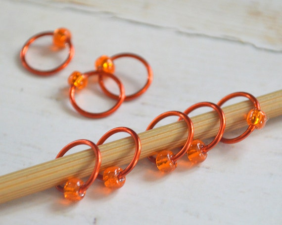 POP of Orange / Stitch Markers - Dangle Free Snag Free Knitting Stitch Markers - Small Medium Large Sizes Available