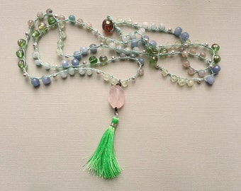 Boho Chic Tassel Beaded Crochet Necklace Semiprecious Gemstones Silver Blue Green Aqua Pink Long Necklace Summer Jewelry Cool Pastels