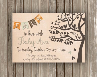 Fall in Love Sip and See Invitation (Baby shower, sip and see, sip n see, giving tree)