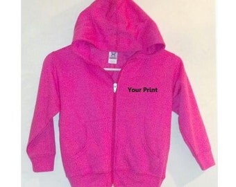 Toddler Zippered Hooded Sweatshirt Personalized Name Embroidered Hoodie