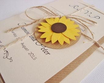 Personalised Sunflower Ribbon Tied Wedding Invitation and RSVP Sample