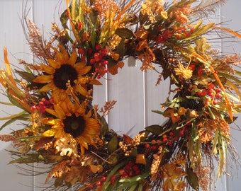 Fall wreath, fall door wreath, sunflower wreath, front door wreath, sunflower door wreath, fall decoration, autumn wreath, Thanksgiving