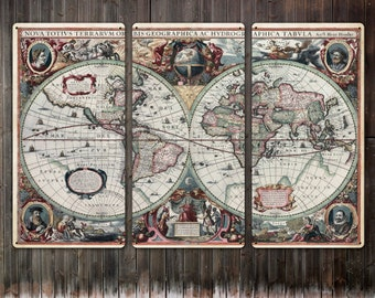 "Vintage World Map METAL triptych 54x36"" FREE SHIPPING"