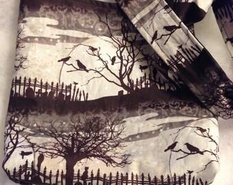 The Raven Edgar Allen Poe graveyard Halloween edition Classic Horror REVERSIBLE CrossBody Bag / purse