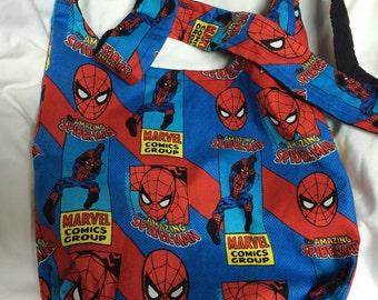 The Spider man Vintage comic Hobo REVERSIBLE CrossBody Bag / purse