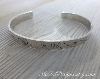 Spirals Sterling Silver Cuff Bracelet Hand Stamped Spirals Asteriks and Dots Made of 925 Silver by MaDilDesigns