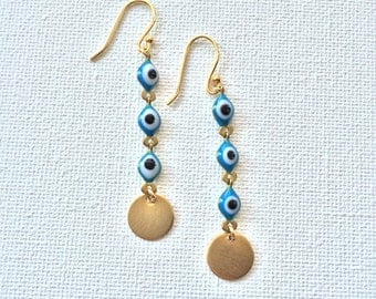 Evil Eye Dangle Circle Earrings