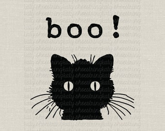 Black Cat Halloween Decoration Digital Image Download Transfer To Treat Bag Tags Banners Totes Burlap T Shirt Pillows