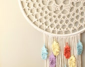 "DIY Crochet PATTERN - Dream A Little Dream Dreamcatcher Inspired 30"" diameter Wall Hanging (HomDec009)"