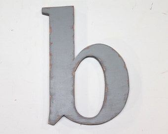 """Wooden letter """"b"""" lower case, 12 inch, nursery letters, wall hanging, nursery decor, alphabet letters, cottage chic, painted vintage gray"""