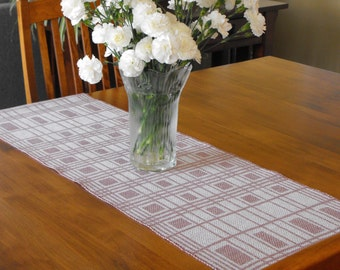 White and Plum Table Runner Handwoven, White Runner Linen & Ramie Runner Purple, Modern Swedish Table Runner, Hand Woven Runner Summer