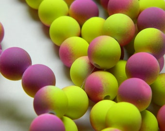 40 Neon Yellow Purple Acrylic 10mm Beads, Basketball Wives Matte, Neon