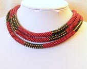 Long Beaded Crochet Rope - Geometric necklace - Patchwork - red classic jewelry - seed bead necklace - Dark Red - Black - Golden