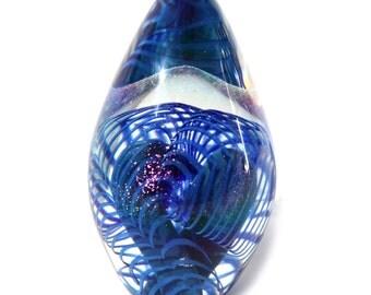 ART Glass Paperweight Vintage Robert Eickholt Iridescent Captured Coil Vortex Egg Paperweight