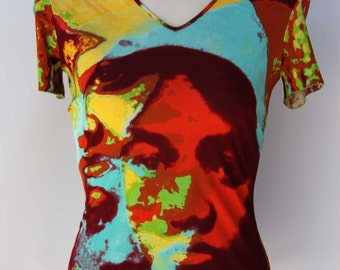 Jean Paul GAULTIER FEMME Fitted T Pop Art Abstract Face Portrait Vibrant Multicolored Made in ITALY
