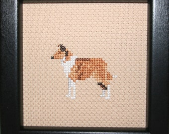 Smooth Collie Cross Stitched Full Body Dog.