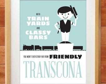Winnipeg Neighbourhood Prints: Transcona, Train Yards and Classy Bars