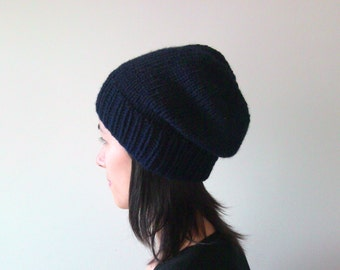 Navy Blue Slouchy Hat – Hand Knit Chunky Slouch Hat – Seamless Winter Beanie – Wool Blend Hat – Made to Order