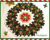 pattern bead weaving doily holly wreath