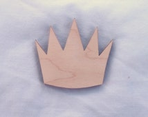 Pointed Queen Royal Tiara Wood Shape in Unfinished Wood, Assorted Sizes