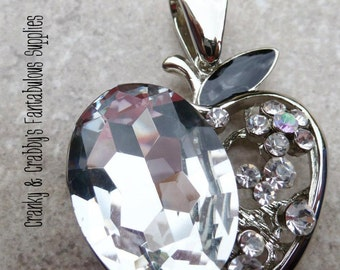 Silver & Crystal Rhinestone Apple Pendant  - Chunky Necklaces - 50mm x 38mm